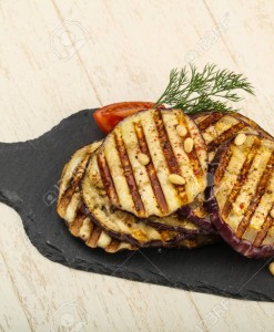 Grilled eggplant with oil, dill and cedar nuts