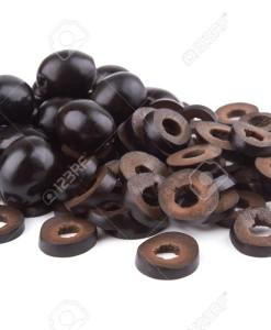 Marinated slices black olives isolated on white background